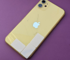 Рамка корпуса Apple iPhone 11 желтая С-сток (стекло камеры треснутое)