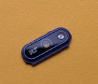 Стекло на камеру Huawei Y6 (2018) чёрное в рамке синей