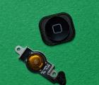 Кнопка меню шлейф + накладка Apple iPhone 5 чёрная